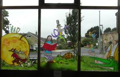 My whole painted three panel window display, depicting Roald Dahl's favourite characters and inspired by Quentin Blake's amazing illustrations. I finished just in time for our Roald Dahl Summer Reading Challenge!