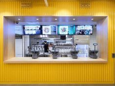 YOI Fast Food Restaurant // Lomar Arkitekter & JVD - the diffusers Restaurant Design, Restaurant Counter, Fast Food Restaurant, Cafe Restaurant, Kiosk Design, Retail Design, Store Design, Cafe Interior Design, Cafe Design