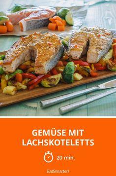 Gemüse mit Lachskoteletts - ein gesundes Abendessen, das schnell gemacht ist.