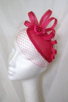 e735db33 Cerise Pink Fascinator - Vintage Blusher Veil with Sinamay Loops & Pearls  Retro Teardrop Wedding Mini