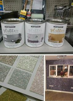 Rust-Oleum glitter paint,diy glitter striped walls for Gwen's room – All For Decoration Room Decor Bedroom, Diy Room Decor, Diy Bedroom, Bedroom Colors, Light Bedroom, Bedroom Furniture, Furniture Ideas, Silver Bedroom Decor, Bedroom Table