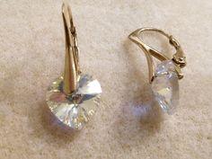 HANDMADE Kira Beatrize: 104. Kolczyki srebrne pozłacane z kryształami Swar...
