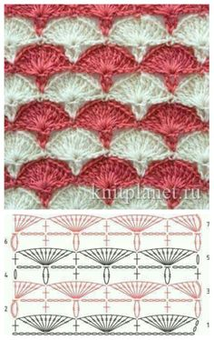 CROCHET #FAN #STITCH #PATTERN WITH DIAGRAM