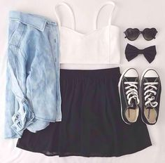 Fashion, outfit, and converse image outfits with converse, white conver Moda Fashion, Cute Fashion, Teen Fashion, Fashion Outfits, Fashion Ideas, Fashion 2017, Dress Fashion, Teen Girl Outfits, Outfits For Teens