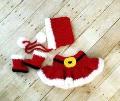 Crochet Baby Christmas Mrs. Claus Skirt, Bonnet & Boots Set – ModernBabyCrochet