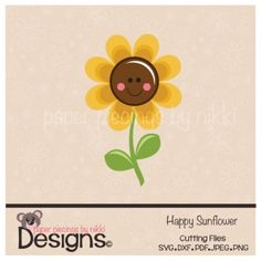 Happy Sunflower-scrapbooking and paper craft files SVG Cutting File SVG Cuts silhouette cameo Cricut explore