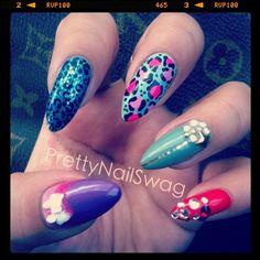 love the pink cheetah nail