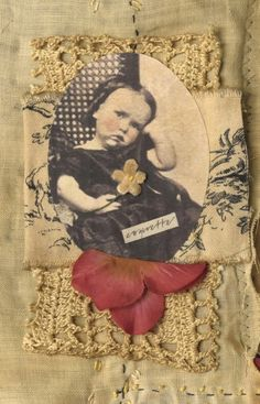 Mixed media fabric collage book of little french coquettes