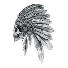 Indian Chief Skull Art Print by nzfinch Indian Head Tattoo, Indian Chief Tattoo, Indian Headdress Tattoo, Native Indian Tattoos, Indian Skull Tattoos, Indian Tattoo Design, Native American Tattoos, Head Tattoos, Body Art Tattoos