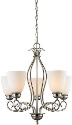 The Chatham Series is a transitional collection with great lines. This Five Light Chandelier in Brushed Nickel with White Glass is a great look to enhance any home Kitchen Chandelier, 5 Light Chandelier, Sputnik Chandelier, Chandelier Shades, Rectangle Chandelier, Wagon Wheel Chandelier, Lantern Pendant, Globe Lights, Drum Shade
