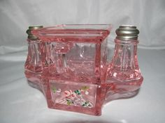 RARE  WESTMORELAND PINK DEPRESSION GLASS STACKING SUGAR CREAMER SALT PEPPER SET