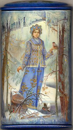 """Fedoskino. Russian Lacquer Art Titled """"Snowmaiden"""" Artist Konstantin Buyko   (FRONT)"""