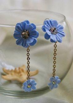 Royal Blue Flower Earrings