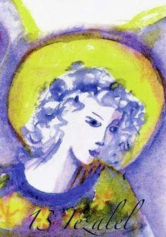 (13) IEZALEL (Kabbalistic angel) 21-25 May, provides essence of: Faithfulness. (ángel Cabalístico) 21-25 mayo, aporta esencia de: Fidelidad. 25 Mayo, Angel Drawing, Names Of God, Tarot, Creatures, Faith, Celestial, Drawings, Artist