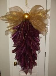 Beautiful Angel Purple/Gold Deco Mesh door wreath swag with Halo Very Unique Deco Mesh Crafts, Wreath Crafts, Diy Wreath, Christmas Projects, Holiday Crafts, Christmas Ideas, Wreath Ideas, Christmas Time, Holiday Decor