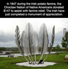 I\'m Irish, the famine took up a big part of our history lessons and the Choctaw\'s donation featured prominently.