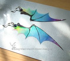Dragon wing earrings, iridescent with sterling silver ear wires, various colours. Clip on version available