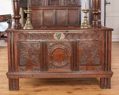 17th century joined oak chest, Marhamchurch antiques