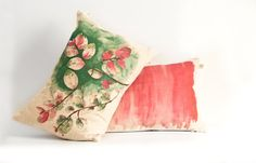 Two cushions/ pillow set/ pink ombré + ice cream bush in green on oatmeal fabric