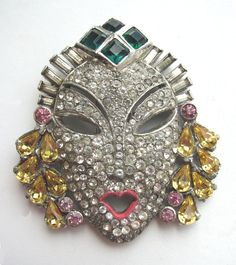 Beautiful 1940s Dramatic Rhinestones Face Mask Fur Clip! from bdazzled on Ruby Lane