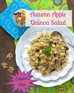 Autumn Apple Quinoa Salad | Gluten free way to refuel your muscles after a workout | Apples, walnuts, dried cranberries and zesty Cheddar cheese * * Created by two registered dietitians, Meal Makeovers features healthier versions of classic recipes families love. If you think spaghetti and meatballs, lasagna, and gooey desserts are off limits, you'll want to download this app! The iTunes link is here https://itunes.apple.com/us/app/meal-makeovers/id680758075?mt=8&ign-mpt=uo%3D4 @Meal…
