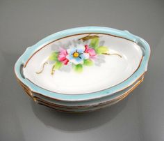 Japan Nature Scene Meito China Hand Painted Bowl Pierced Handles