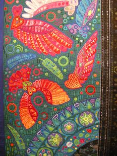 A Flight by Fumiko Nakayama, the Queen of Mola. Quilt Festival, Applique Quilts, Embroidery Applique, Shibori, Reverse Applique, Examples Of Art, Mini Quilts, Tribal Art, Fabric Art