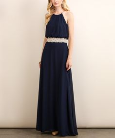 Another great find on #zulily! Navy Lace-Waist Blouson Maxi Dress #zulilyfinds