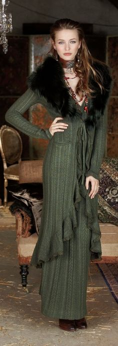 I had a long green velvet coat  similar to  this knitted sweater with same  fur collar from my then fiance .It was similar to the Kate Hudson boho looks in movie Almost Famous. Loved it  .Hubby still remembers it fondly!/DB
