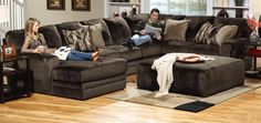 Loving the dark charcoal of this sectional!