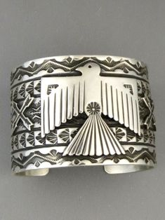 Southwest Silver Gallery features a unique and very beautiful selection of wide silver bracelets and Native American silver bracelets to choose from! We feature silver thunderbird bracelets by Native American artist, Sunshine Reeves. Silver Bracelets For Women, Silver Bangles, Sterling Silver Necklaces, Silver Jewelry, Silver Earrings, Navajo Jewelry, Gold Jewellery, Diamond Jewelry, Silver Rings With Stones