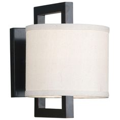 @Overstock - Endicott 1-light Sconce - Vizzini's Cream fabric shades are suspended from rectangular frames finished in oil rubed bronze and cast a soft glow through frosted bottom diffusers. The four light island light offers a unique spin.  http://www.overstock.com/Home-Garden/Endicott-1-light-Sconce/7582761/product.html?CID=214117 $58.99