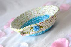 Your place to buy and sell all things handmade Handmade Home Decor, Handmade Clothes, Cute Desk Accessories, Rope Basket, Shabby Chic Homes, Blue Fabric, Machine Quilting, Quilt Making, Dresser