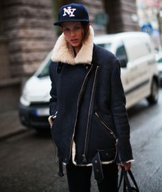 so partial to that Acne rita shearling biker jacket. Paris.