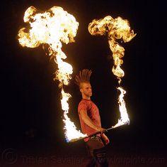 mushroom flames, fire staff - Click photo to visit site and view larger image Flightless Bird, Click Photo, Man, Spinning, Mohawk Hair, Stuffed Mushrooms, Fire Dancer, Birds, Dancing