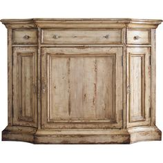 Bring antiqued character to your dining room with this standout sideboard, featuring a weathered beige finish with cherry and pine wood undertones.
