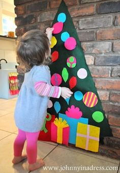 felt tree by schoolfete Cool idea for my toddler to decorate and redecorate!