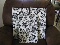 Fabric Canvas or Corkboard Plus, has a tutorial for no-sew curtains. Fabric Covered Canvas, Canvas Fabric, Diy Canvas, Wall Canvas, Canvas Artwork, Fabric Corkboard, Plain Canvas, No Sew Curtains, Diy Crafts To Do