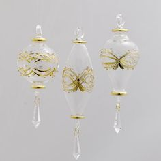 "$194.99-$244.99 Club Pack of Luxor Clear and Gold Prism Finial Glass Christmas Ornaments 6.5"" - Club Pack of 12 Luxor Prism Finial Glass Ornaments Item #GC0051  These ornaments are a gorgeous addition to any tree Features rich detail and beautiful craftsmanship Each ornaments has an ornate pattern and a prism finial  Fully dimensional ornaments  Dimensions: 6.5""H Material(s): glass  Club Pack of ..."