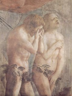 Masaccio - Expulsion of Adam and Eve, part of a cycle in the Brancacci Chapel, this ensemble by Masaccio is considered the first masterpiece of The Renaissance. Italian Renaissance Art, Renaissance Kunst, High Renaissance, Renaissance Paintings, Hans Baldung Grien, La Pieta, Adam Et Eve, Cain And Abel, Italian Art