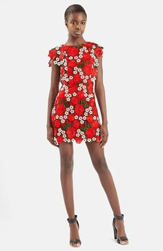 Topshop Floral Lace A-Line Dress available at #Nordstrom