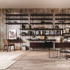 Airport design modular bookcase by Cattelan Home Library Design, Office Interior Design, Office Interiors, Home Living Room, Kitchen Interior, Interior Design Living Room, Living Divani, Muebles Living, Industrial House