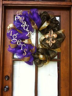LSU / Saints Deco Mesh Wreath. Football Season at the Walker's House!