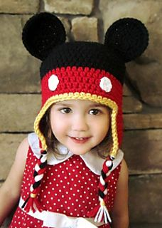 This pattern includes instructions for making this Mickey Mouse hat in EIGHT different sizes! 0-3 month, 3-6 month, 6-12 month, 1-3 year, 3-6 year, 6-12 year, teen/adult small, and adult large. It is a written crochet pattern that involves sc (single crochet) and hdc (half double crochet) stitches, as well as slip stitches to join rounds.