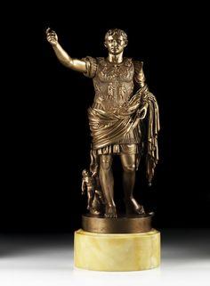 Italian bronze of Caesar Augustus, 19th century.