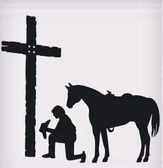 "Praying Cowboy Sticker (5-1/2""""x5"") High-quality vinyl sticker with a cowboy praying design with a cross is durable and weather resistant. Easy to remove adhesive adheres to most glass, metal and plastic surfaces. Great for cars, boats, trucks and trailers! Many western designs available! Made in the USA! Cowboy Draw, Vinyl Tumblers, Wall Decor Design, Real Cowboys, Horse Silhouette, Wood Burning Patterns, Tumbler Designs, Polymer Clay Animals, Horse Art"