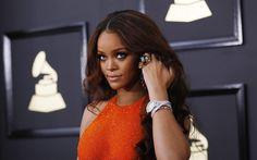 Lataa kuva Rihanna, 4k, Amerikkalainen laulaja, muotokuva, oranssi mekko, kaunis nainen, Robyn Rihanna Fenty