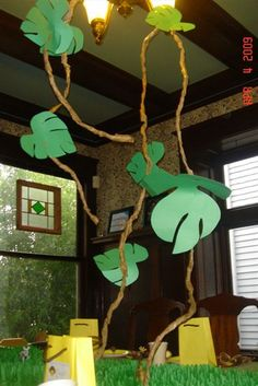love these vines and leaves for a monkey theme... in the corner over my table and library area?