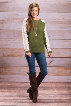 """""""Life Of Love Sweater, Olive"""" You will live a life of love in this olive green sweater! It will keep you so warm and comfy you won't even be able to put it into words!  #newarrivals #shopthemint"""