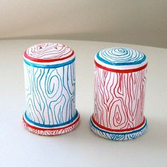 Ceramic Salt And Pepper Shakers Woodgrain Turquoise Blue Red Faux Bois Hand…